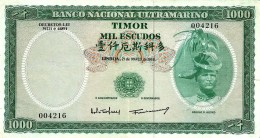 TIMOR - 1000 ESCUDOS - 21.3.1968 - P 30 - Sign. 2 - REGULO D. ALEIXO - PORTUGAL - 2 Scans - Timor