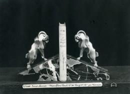France Paris Art Deco Atelier Cadran Serre-Livres Mouflons Par Varnier Ancienne Photo 1930 - Objects