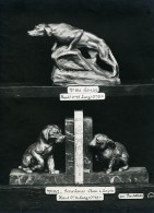 France Paris Art Deco Atelier Cadran Levrier Serre-Livre Chien Lapin Bartelletti Ancienne Photo 1930 - Objects