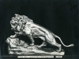 France Paris Art Deco Atelier Cadran Création De Pellier Lion Rugissant Ancienne Photo 1930 - Objects