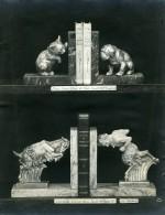France Paris Art Deco Atelier Cadran Création Irenée Rochard Serre-Livres Faune Ancienne Photo 1930 - Objects