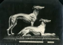 France Paris Art Deco Atelier Cadran Création De Bartelletti Groupe De Levriers Ancienne Photo 1930 - Objects
