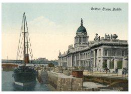 (110) Very Old Postcard - Carte Ancienne - Ireland - Dublin Custom House And Ship - Monuments