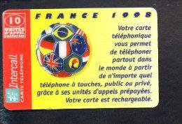 """Télécarte Prépayée Intercall  10 Unités ( 100 Ex ) / (neuve Et Sans Code Secret """"essai"""") Coupe Du Monde Foot France 1998 - Frankrijk"""