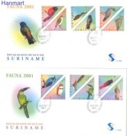 Surinam 2001 Mi 1764-1775 FDC- Birds Of Prey, Parrots - Papagayos