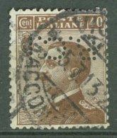 ITALIA 1908: Sassone 84 / YT 80 / Mi 91, PERFIN, O - FREE SHIPPING ABOVE 10 EURO - Usados