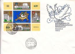 Hongrie - Document De 1980°- Bloc 151a  NON Dentelé - Oblit Budapest - Idées Européennes -carte De L'europe - Armoiries - Cartas