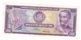 Peru 200 Soles 1968 ,UNC,   Rare!!!! See Scan ,Rare, Free Ship. To USA - Peru