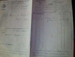 Facture Double Tissus Unis France & Manufacture De Bolduc Vegetal Annee 1924 A Paris - Textile & Vestimentaire
