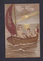 Carte Patriotique Nouvel An 1918 Bonne Année Joie Bebe Bebes Barque Bateau à Voile Drapeau Tricolore DIX 1069/5 - Nouvel An