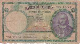 BILLETE DE PORTUGAL DE 20 ESCUDOS DEL AÑO 1954  (BANKNOTE) - Portogallo