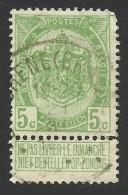 Belgium,  5 C. 1907, Sc # 84, Mi # 80, Used. - 1893-1907 Coat Of Arms