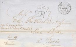 1844 - LAC Ligne Du Levant Marque D´entrée Alexandrie Egypte >>>> Rothschild Paris Taxe 20 Purifié Avec Entailles - Marcophilie (Lettres)