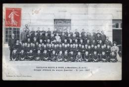 91 Essonne Montlhéry Institution Resve & Gros Groupe D'élèves Du Cour Moyen 21 Juin 1907 Animée - Montlhery
