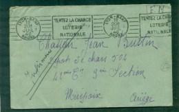 Lettre En FM Lyon Gare 1940, Flamme RBV Tentez La Chance/ Loterie Nationale Pour Mirepoix (Ariège) - Guerra De 1939-45