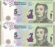 PAREJA CORRELATIVA DE ARGENTINA DE 5 PESOS - JOSE DE SAN MARTIN DEL AÑO 2015 (BANKNOTE) SIN CIRCULAR-UNCIRCULATED - Argentina