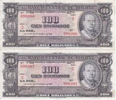 PAREJA CORRELATIVA DE BOLIVIA DE 100 BOLIVIANOS DEL AÑO 1945 (BANKNOTE) - Bolivia