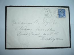 LETTRE TP MARIANNE DE MULLER 20F OBL.15-12-1958 BORDEAUX-GARE GIRONDE (33)à SIGNAC CHATEAU LAMOTHE ST PRIVAT LES PRES 24 - Non Classés