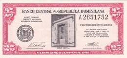BILLETE DE REP. DOMINICANA DE 25 CENTAVOS ORO DEL AÑO 1961 (BANKNOTE) SIN CIRCULAR-UNCIRCULATED - República Dominicana