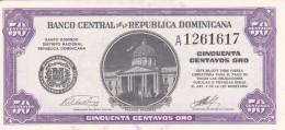 BILLETE DE REP. DOMINICANA DE 50 CENTAVOS ORO DEL AÑO 1961 (BANKNOTE) SIN CIRCULAR-UNCIRCULATED - República Dominicana