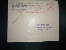 LETTRE EMA SC 1610 à 020 Du 7 XII 61 PARIS 42  JOIES DU SKI SPORTS D'HIVER EN FRANCE + COMITE DES STATIONS FRANCAISES DE - Skiing