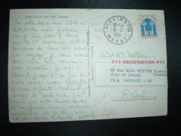 CP TP BLASON MONT DE MARSAN 0,25 OBL.MEC.13-8-1969 QUEND PLAGE LES PINS SOMME (80) VIGNETTE PTT REEXPEDITION PTT (REIMS) - 1941-66 Armoiries Et Blasons