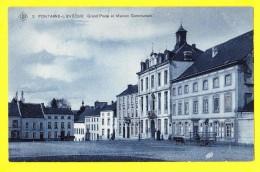 * Fontaine L'eveque (Hainaut - La Wallonie) * (SBP, Nr 2) Grand'Place Et Maison Communale, Cheval, Rare, Old, TOP CPA - Fontaine-l'Evêque