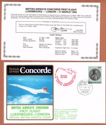 Concorde British Airways First Flight Luxembourg London 31.3.85 - Concorde