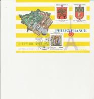VATICAN -  BLOC PHILEXFRANCE OBLITERE AVE TIMBRE N° 849  + 2 VIGNETTES  - 1989 - Vatican