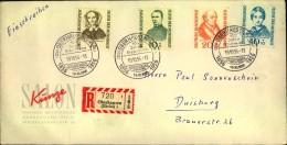 1955, Helfer Der Menschheit Komplett Auf Einschreiben Mit SST (222/225) - Non Classés