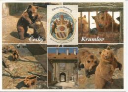 Les Ours Du Château De Český Krumlov, Patrimoine Mondial De L'Unesco.carte Postale Tchèque Adressée En Andorre. - Osos