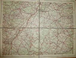 Deutschland - Dunlop-Strassenkarte 75 Strassburg - 39cm X 30cm Auf Leinen Gezogen - Verlagsanstalt Und Druckerei Ludwig - Strassenkarten