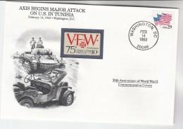 1993 USA Special COVER Anniv WWII TUNISIA ATTACK Event  Stamps Tank - WW2