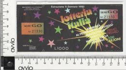 1980 - LOTTERIA ITALIA - - Biglietti Della Lotteria