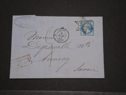 FRANCE - Env Pour Annecy Avec Belle étoile Muette De Paris - Janv 1862 - P18646 - 1862 Napoleone III