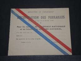 FRANCE - Document Du Ministère De L'Armement Pour La Récupération De Ferrailles - 14/18 - A Voir - P18655 - Militaria