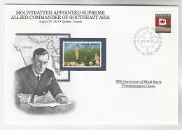 1992 CANADA  EVENT COVER Anniv WWII MOUNTBATTEN SUPREME COMMANDER SE ASIA , Map, Stamps - WW2