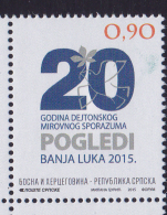 BOSNIA, SERB, 2015, MNH,DAYTON AGREEMENT, 1v - Other
