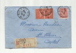 FRANCE   :  Paire Semeuse 199 Sur Recommandé CaD Du 19 09 1927 De Paris - Marcophilie (Lettres)