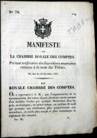 TABAC MANIFESTE DE LA CHAMBRE ROYALE DE TURIN SUR LES DROITS PERCUS SUR LES TABACS  ITALIA TORINO - Tobacco (related)