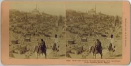 "EGYPTE EGYPT CAIRO LE CAIRE Photo Stéréo Stéréoscopique : "" Bird's Eye View Of The Arab Cemetery With The Citadel ... "" - Photos Stéréoscopiques"