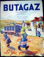 BUTAGAZ PUBLICITE  COLOREE ANNEE 1935 LE GAZ QUI VOYAGE - Advertising