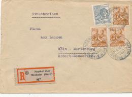 MEERHOF über Westheim - 14.6.48 , R-Brief Nach Köln-Marienburg - Bizone