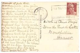 OMEC FLAMME PAU 18-6 1947 GANDON VARIÉTÉ N°716B SEUL SUR CP PAU LE CHÂTEAU LA SALLE DITE DES ÉTATS - C.A.P - Frankrijk