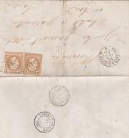 """Lettre De Bordeaux Pour Parentis , Aff Du 13A En Double Cachet Ambulant De Jour Du 14.10.1862 """"B.B1°"""" - Marcophilie (Lettres)"""
