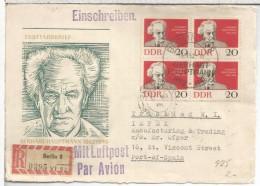 ALEMANIA DDR BERLIN FRONTAL CERTIFICADA GERHART HAUPTMANN 1962 A TRINIDAD - [6] Democratic Republic