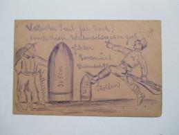 Österreich 1916 Feldpostkarte Mit Zeichnung Von Soldaten Und Bomben! Militärpflege. KuK Reserve Spital Nr. 2 Klagenfurt - 1900-1949