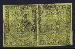 Parma   Sa 1  Mi 1 Used Obl 1852 Strip Of 2 Signed/ Signé/signiert/ Approvato  Serrane - Parma