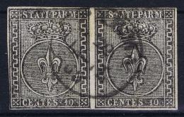 Parma   Sa 2  Mi 2 Used Obl 1852 Strip Of 2 Signed/ Signé/signiert/ Approvato  Serrane - Parma