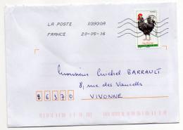 """2016--tp Adhésif Du Carnet """"COQS """"--Coq  Gaulois   Seul Sur Lettre--oblitération  Toshiba - Marcophilie (Lettres)"""